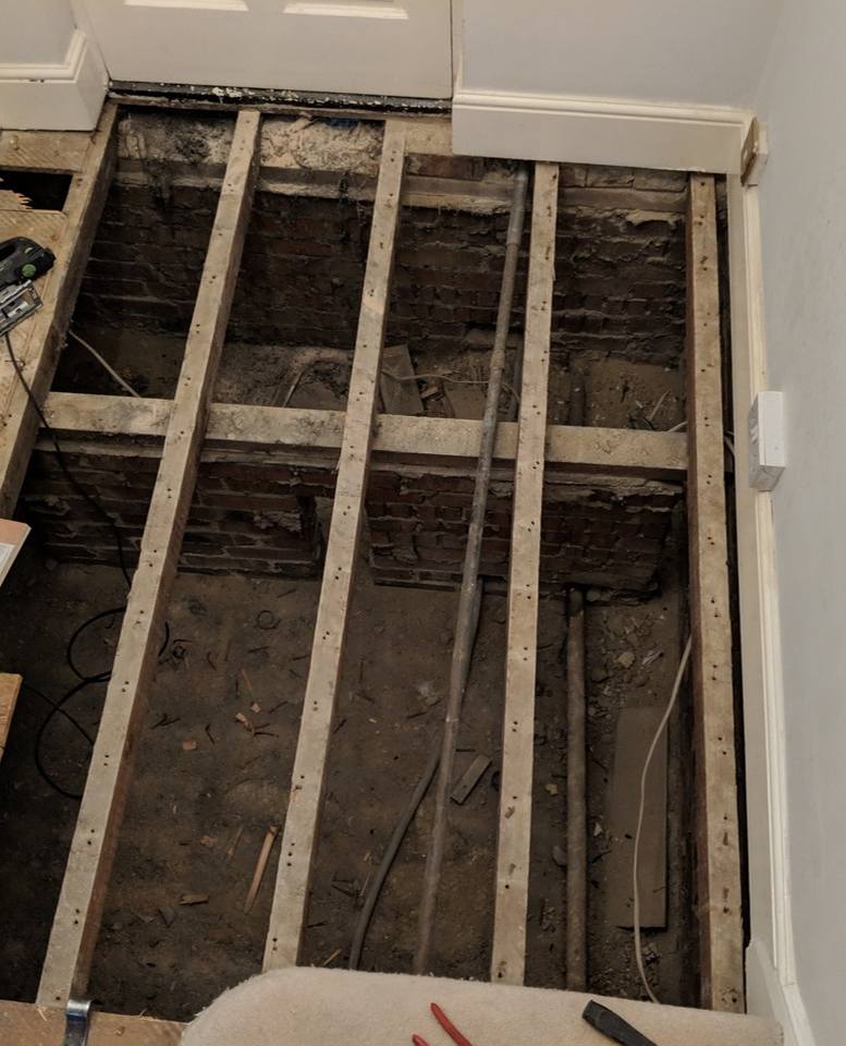 It S Important To Have A Strong And Stable Subfloor When Fitting Parquet Wood Flooring When We Lifted Up The Ca Stairs Cladding Wood Parquet Flooring Flooring