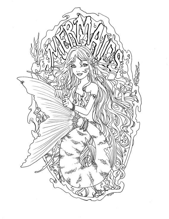 5 Digital Mermaid Coloring pages Instant Download Mermaid Adult