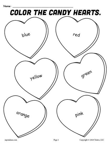 FREE Printable Candy Hearts Valentine's Day Coloring Page