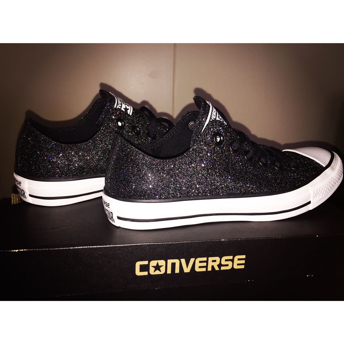 aa6bac294c2 Black sparkly Converse