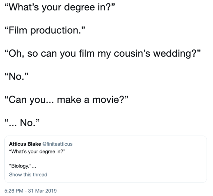 Every Single College Major Has An Abundance Of Stereotypes Associated With It College Twitter Twittermemes Univ College Humor Student Memes College Majors