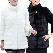 Vintage Women Hairy Faux Rabbit Fur Long Jacket Outerwear Coat Top Black
