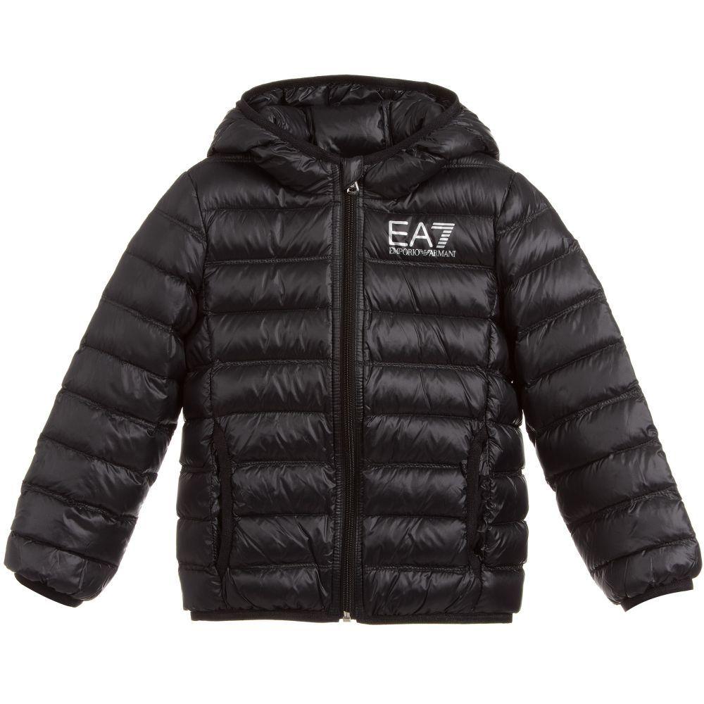 778e243cb39b Boys black down-padded puffer jacket by Italian designer EA7 Emporio  Armani. This warm