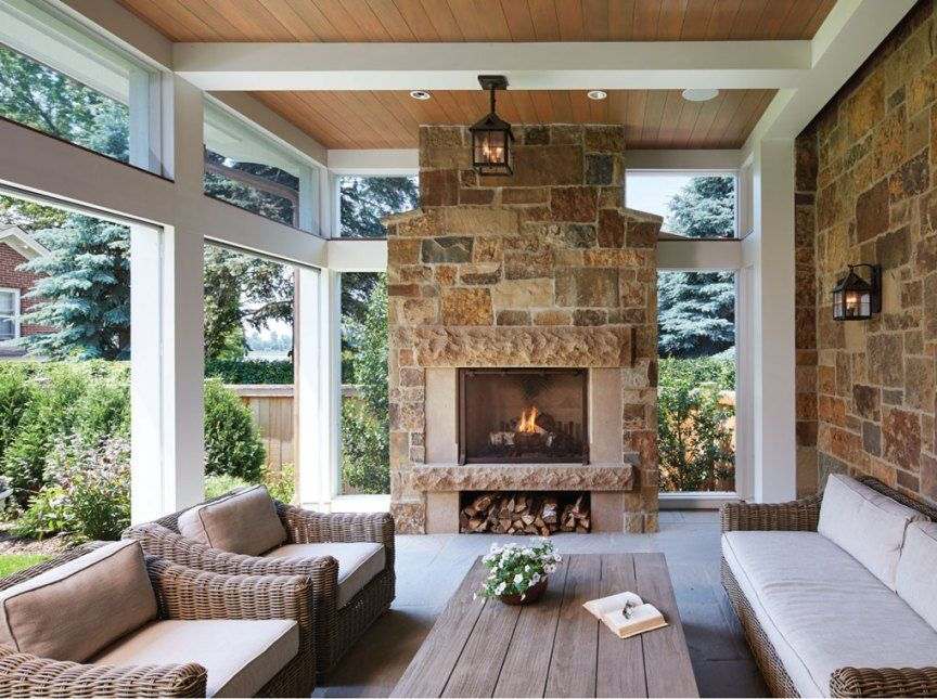 Kenwood Cottage Screened Porch With Fireplace