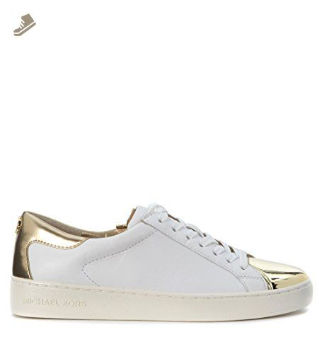 Michael Michael Kors Women's Sneaker Michael Kors Frankie In Pelle Bianca E Oro 38(IT)-8(US) White - Michael kors sneakers for women (*Amazon Partner-Link)