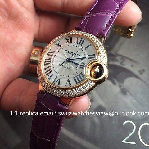 Cartier Ballon Bleu Rose Gold Purple Leather 36mm We900551