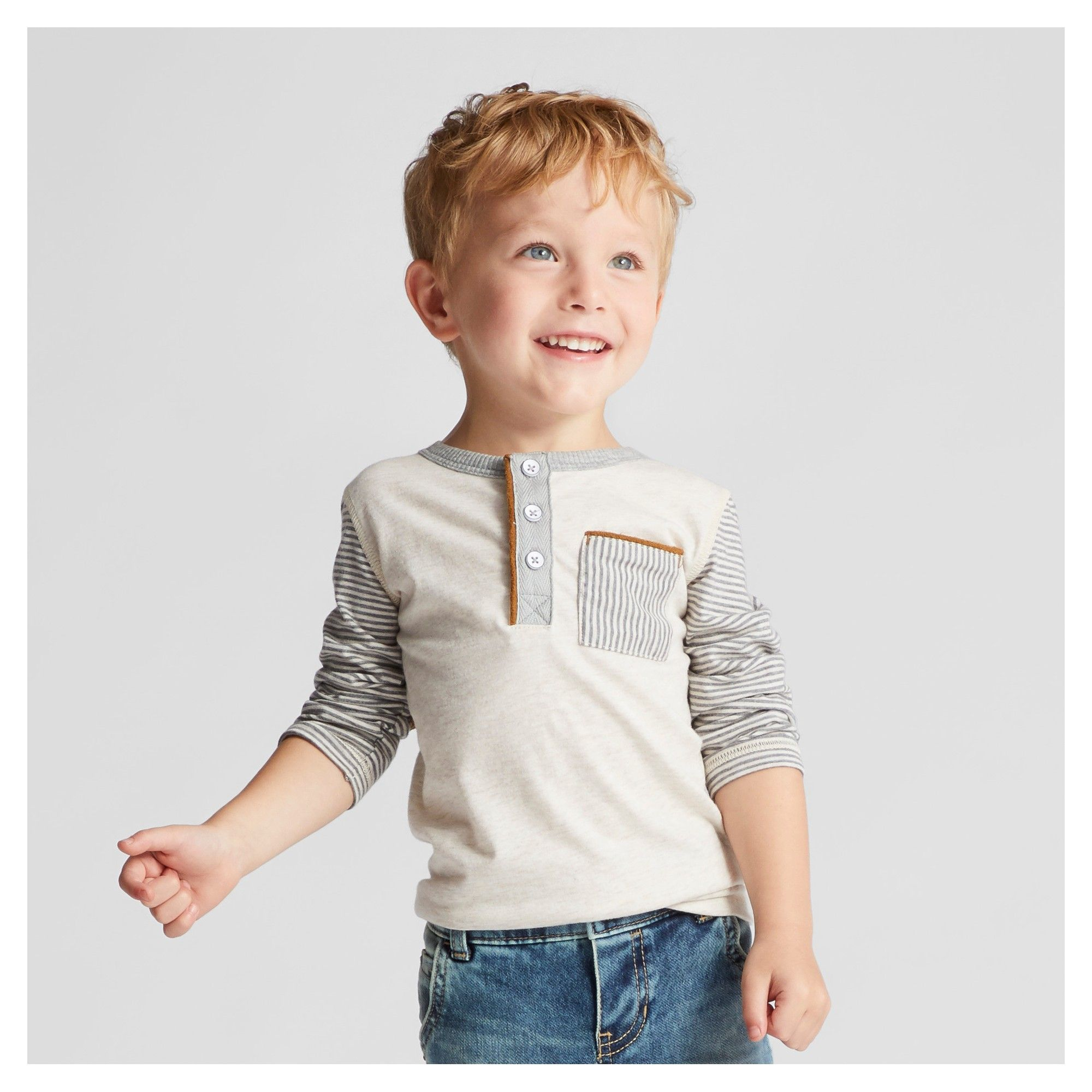 d9132d1e4ad Toddler Boys  Long Sleeve Henley Shirt Genuine Kids from OshKosh - Oatmeal  12M