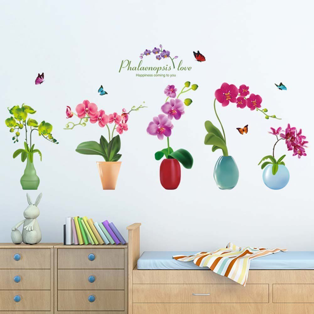 Flower wall stickers potted plants wall paper