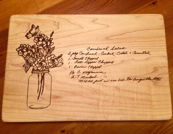 GRANDMOTHERS HANDWRITTEN RECIPE Cutting Board Mason Jar Gardenias and a Butterfly