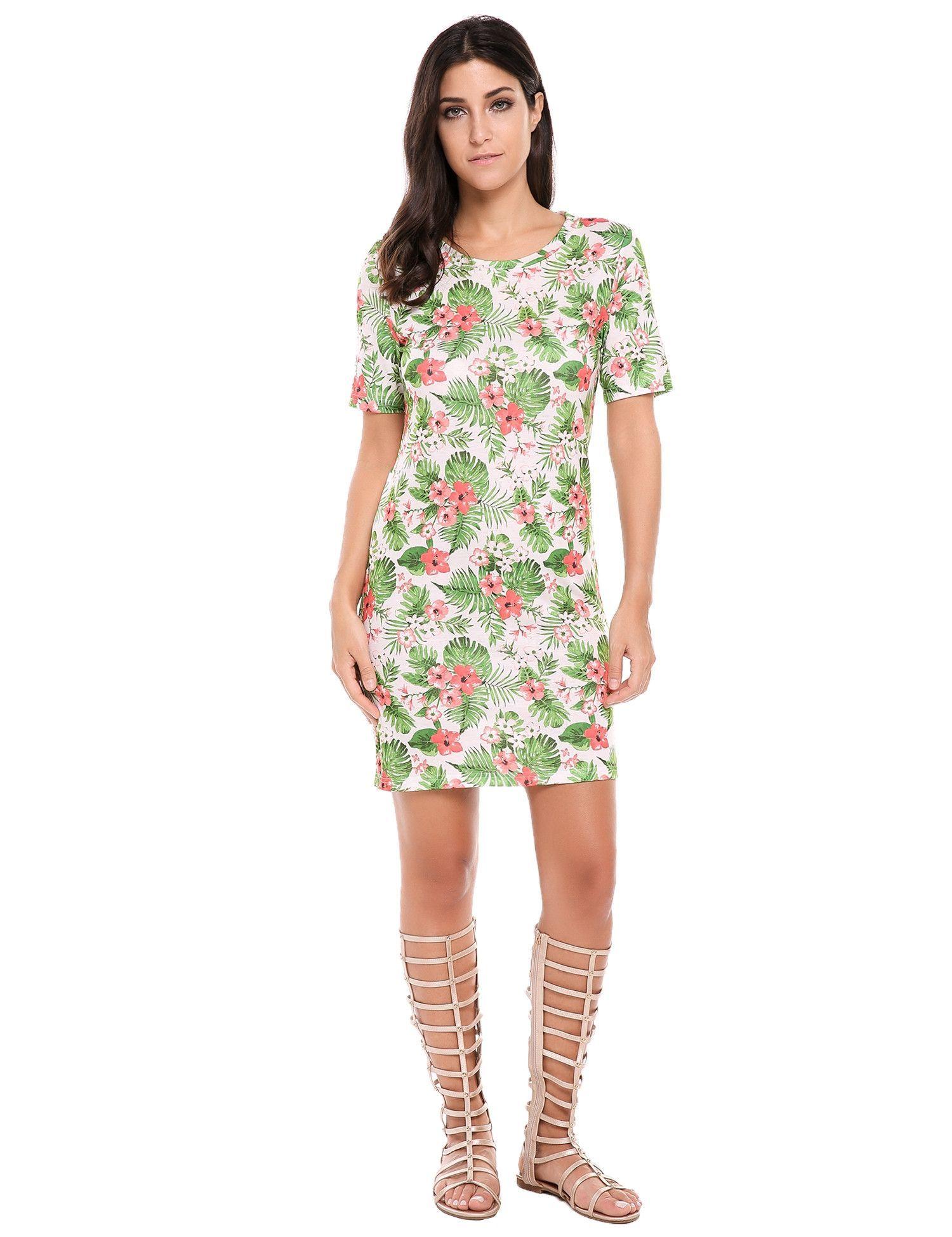 Green floral print short sleeve side slit slim fit tshirt dress