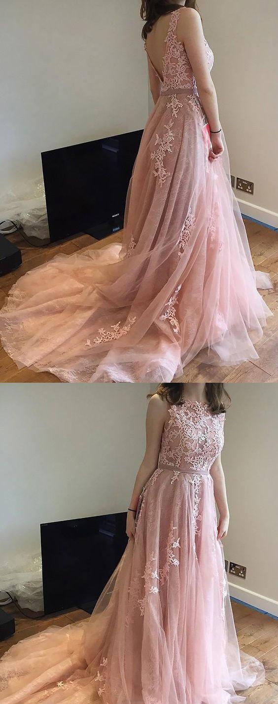 Charming long prom dress beautiful pink prom dress lace v back