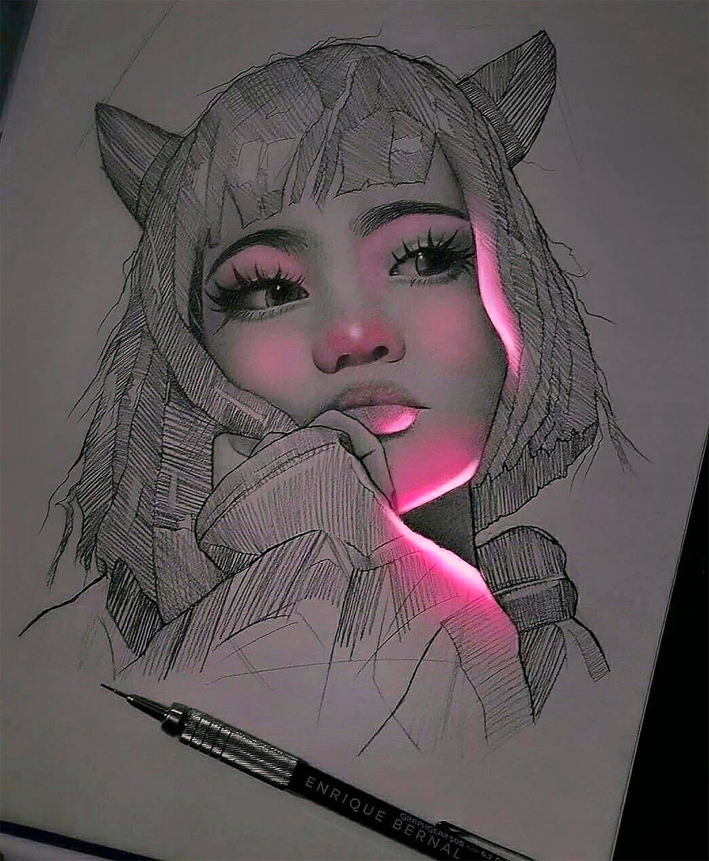 Lit Fluorescent Pencil Drawings By Enrique Bernal Daily Design Inspiration For Creatives Inspiration In 2020 Realistic Drawings Beautiful Pencil Drawings Drawings