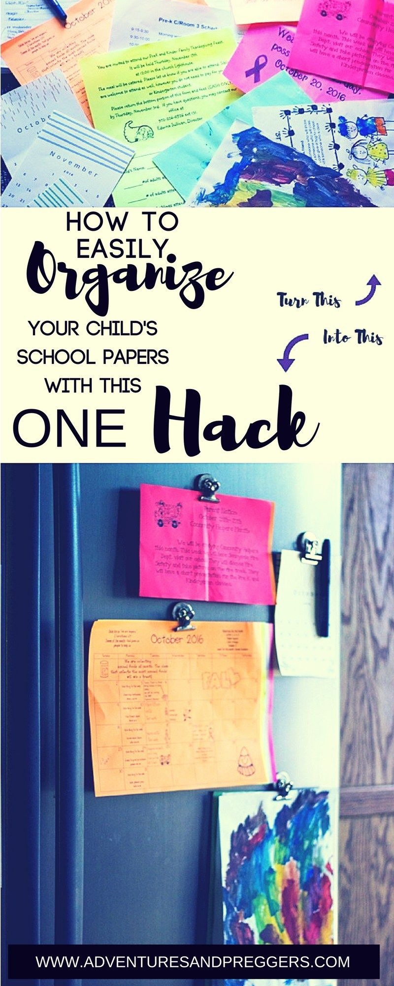 how to easily organize your kids papers hack