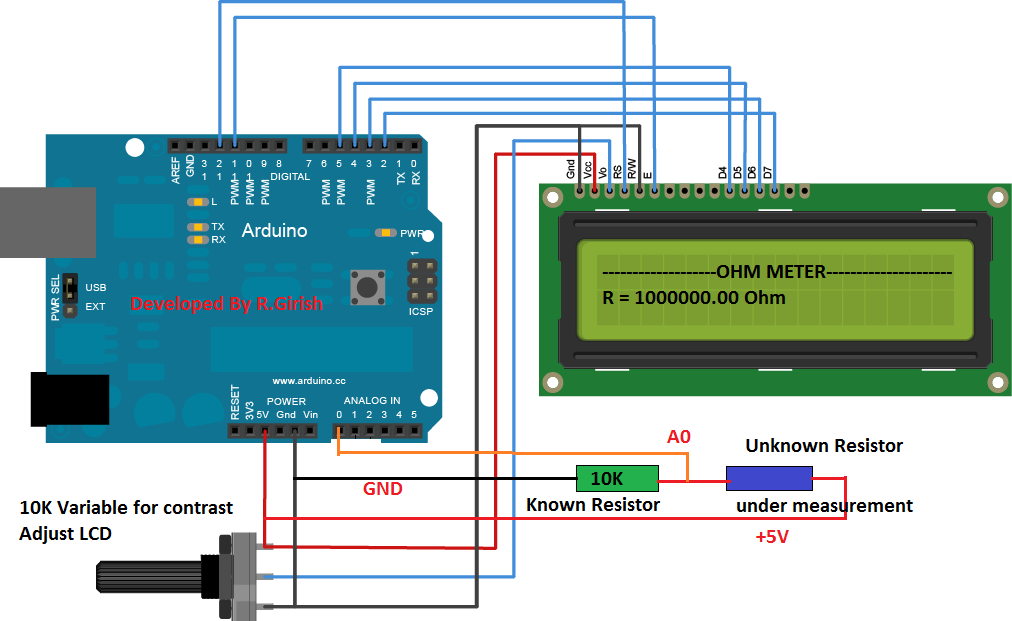 In This Post We Are Going To Construct A Simple Digital Ohmmeter Circuit Using Arduino And 16x2 Lcd Display We Will A Arduino Circuit Projects Arduino Display