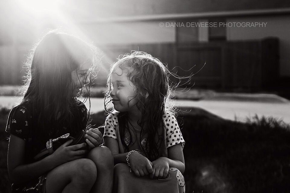 Sisters, sibling pose, black and white photography, Dania Deweese Photography, child photography, lifestyle