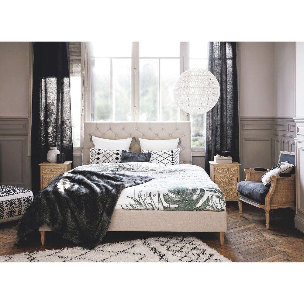 Bett mit gestepptem Leinenbezug mit Lattenrost, 160 x 200 | Linen ...