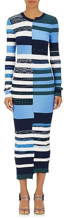 Womens Striped Knit Fitted Maxi Dress Opening Ceremony grLIe