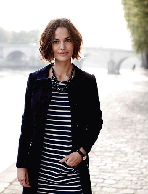 Love black stripes, coat and hair!