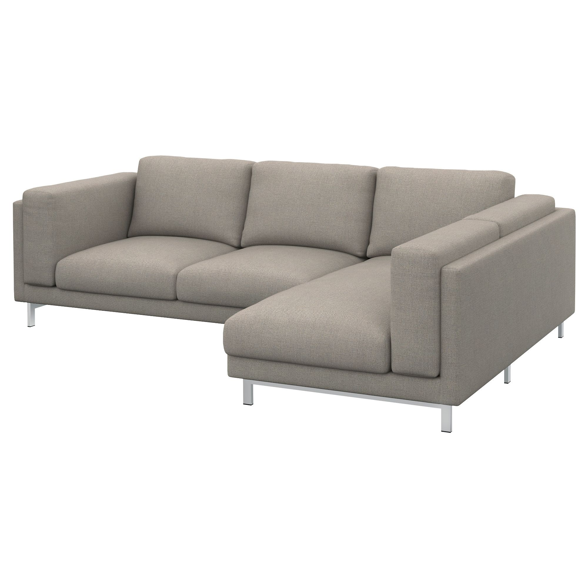 Ecksofa ikea  NOCKEBY Loveseat with chaise, right - Tenö light gray/chrome ...