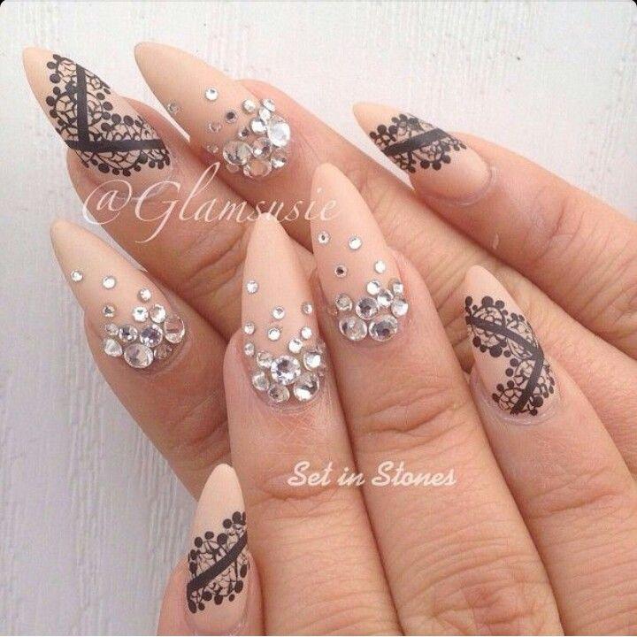 Matte Nude Almond Shaoe Acrylic Nails w/ Lace Design & Rhinestones ...