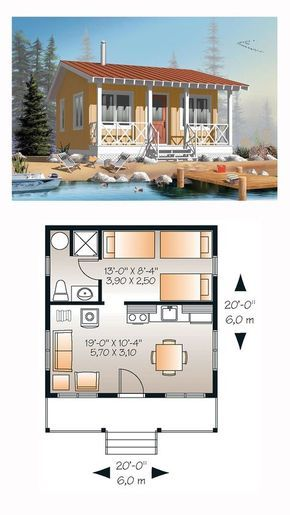 Cabin Style House Plan with 1 Bed 1 Bath