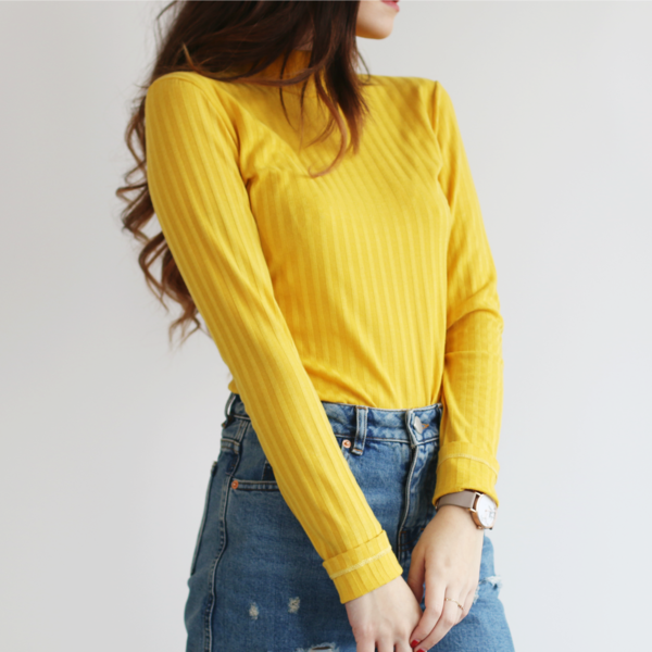 Mustard Yellow Mock Turtleneck