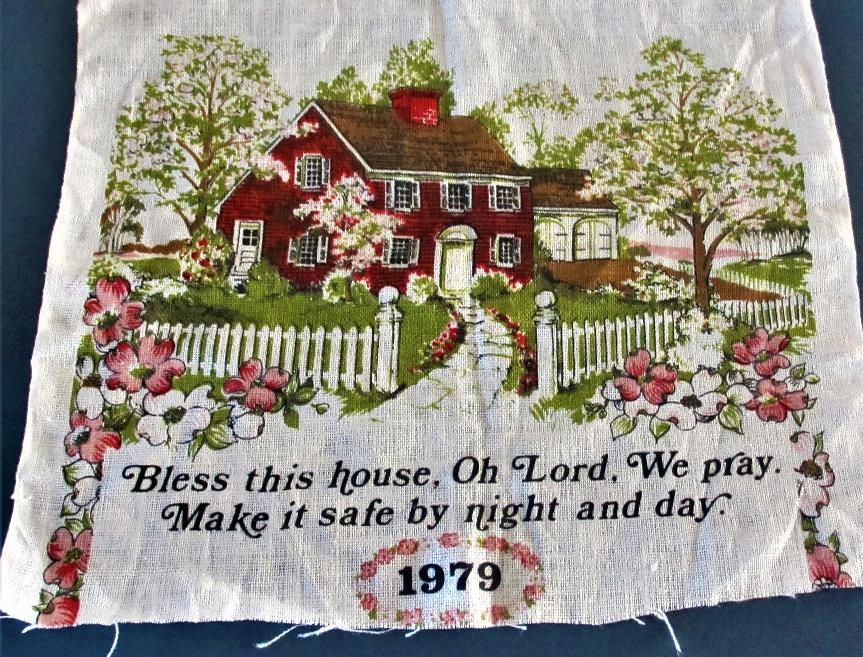 Bless This House Free Shipping Vintage Saying On Linen 1979