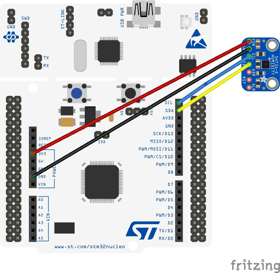 STM32 Nucleo and SHT31 temperature and humidity sensors Arduino