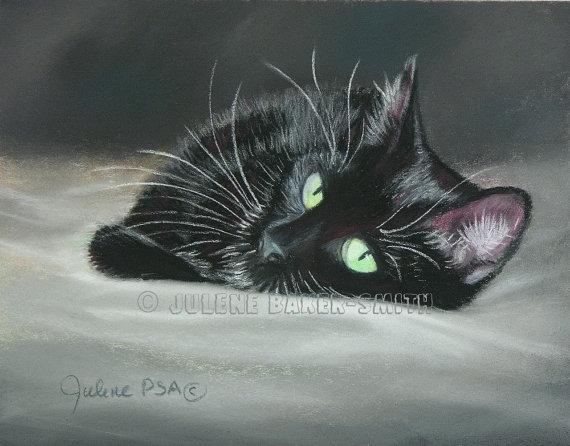 Black Cat Fine Art Personalized Print Black Cat Decor Includes