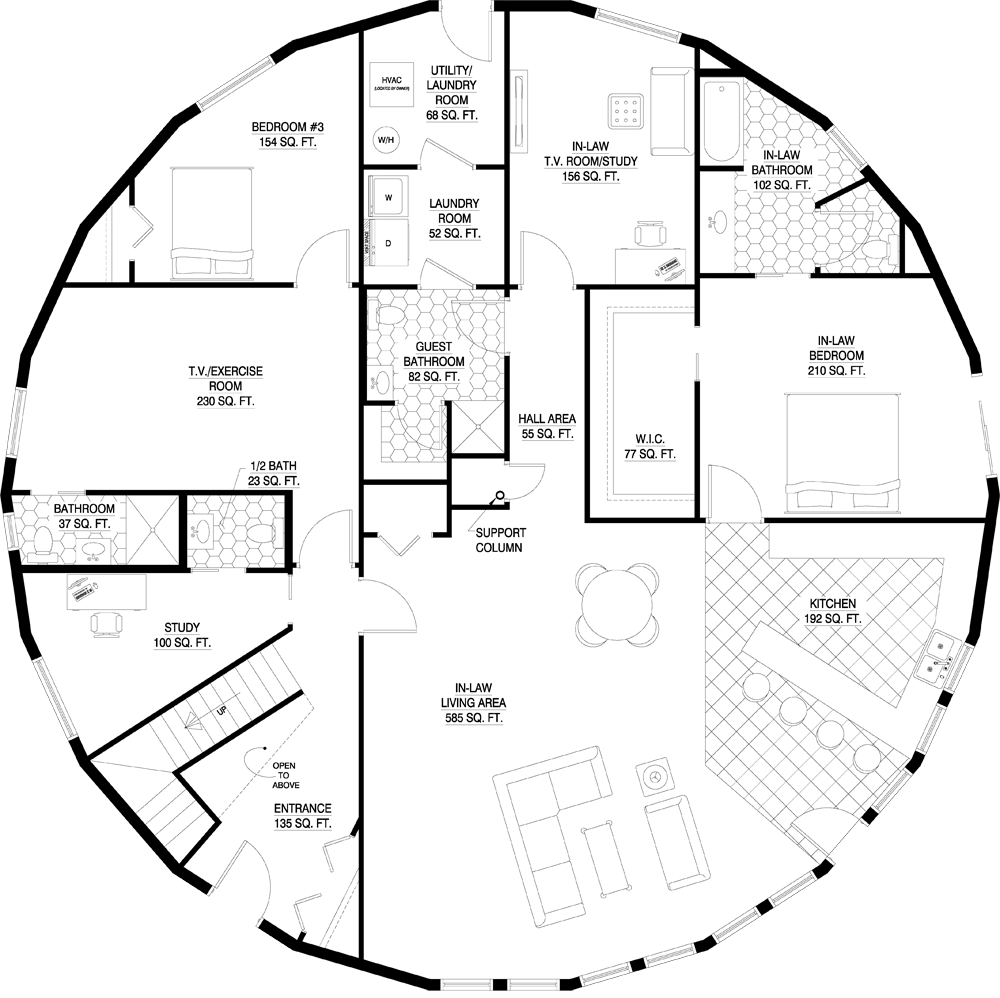 Floorplan Gallery Round Floorplans Custom Floorplans Round House Plans Dome House Custom Floor Plans