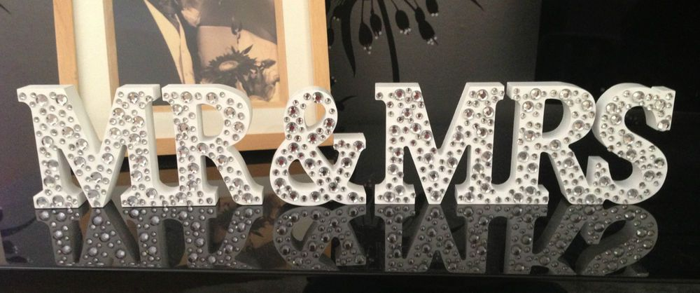 Wedding Gift Diamonte Wood Mr Mrs Letters Mr Mrs Sign Mr And