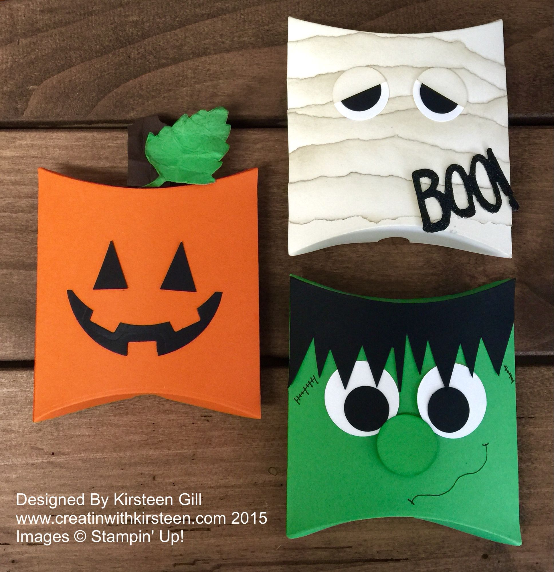 Square pillow box thinlit for quick and easy halloween treat box. #halloween #stampinup #handmadeholidaysxsu