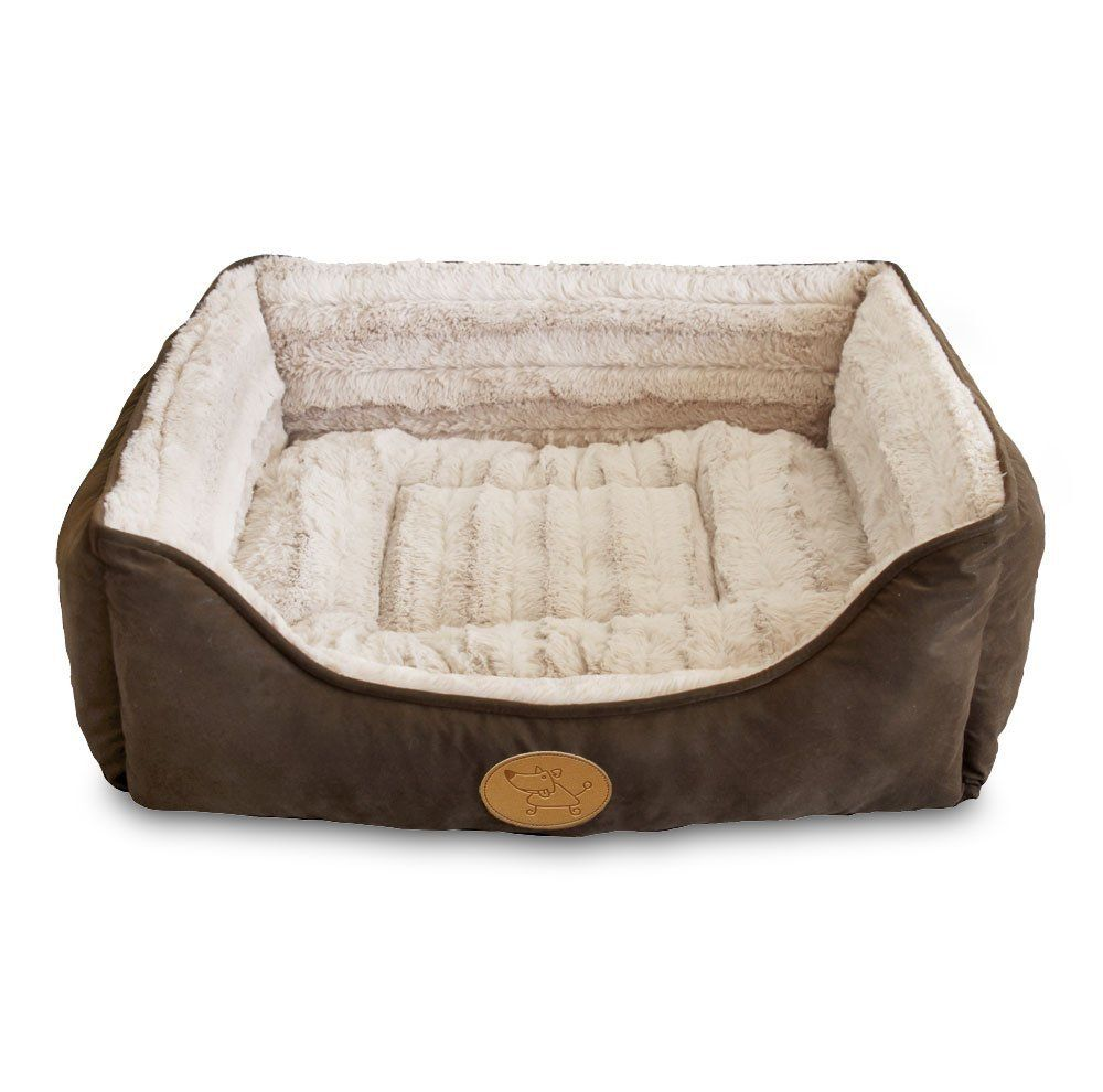 Best Pet Supplies Premium Faux Leather Polyester Filled Plush Square Bed Find Out More Details By Clicking T Plush Pet Bed Washable Dog Bed Bolster Dog Bed