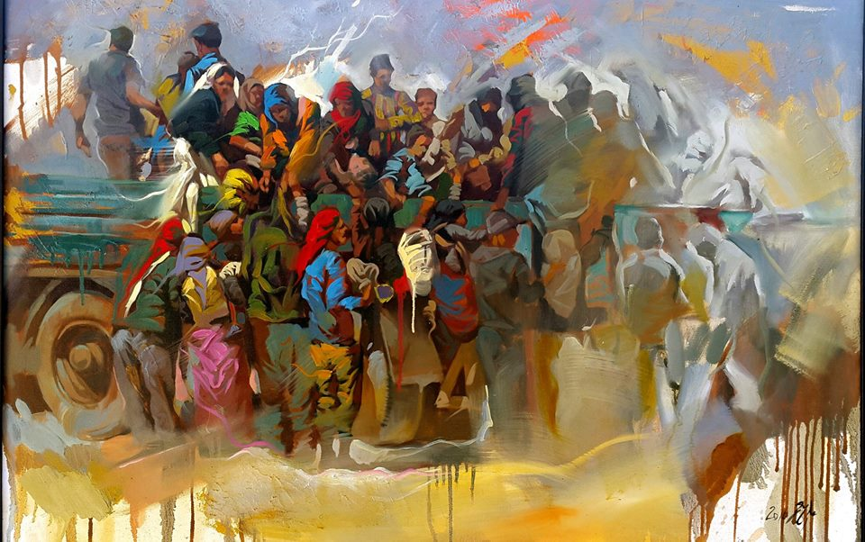 A great painting / Migrants by Iraqi Artist ALI NEMAH