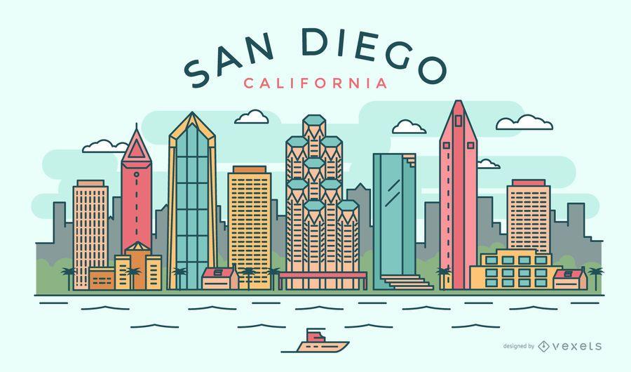 Stroke and thin line minimalist San Diego skyline vector with major ...
