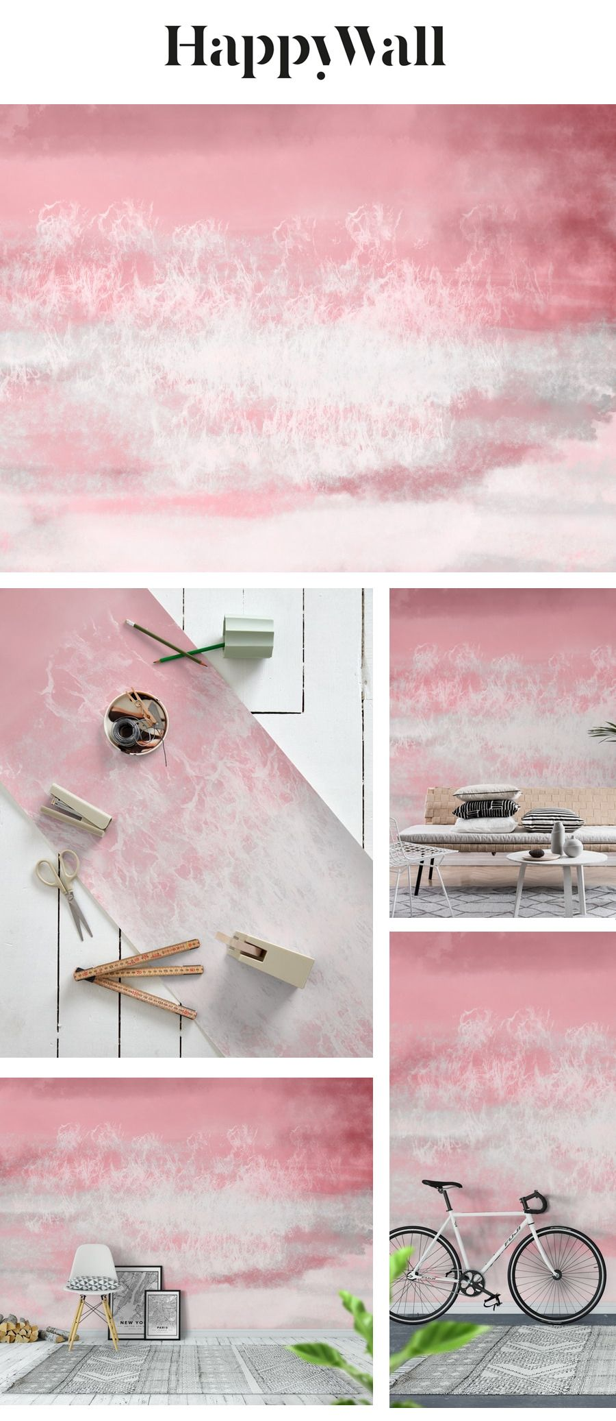 Pink Sea Breeze Watercolor Wall mural in 2020 Watercolor