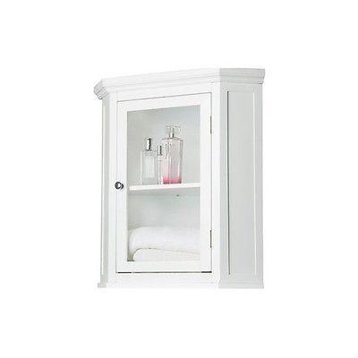 Elite Home Fashions Madison Avenue Corner Wall Cabinet 7084 White