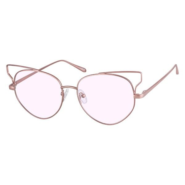 5c1a966835c2d Zenni Womens Cat-Eye Rx Sunglasses Rose Gold Stainless Steel 1129019 ...