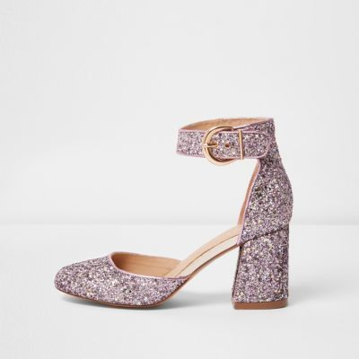 River Island Womens Purple glitter block heel shoes | Shoes ...