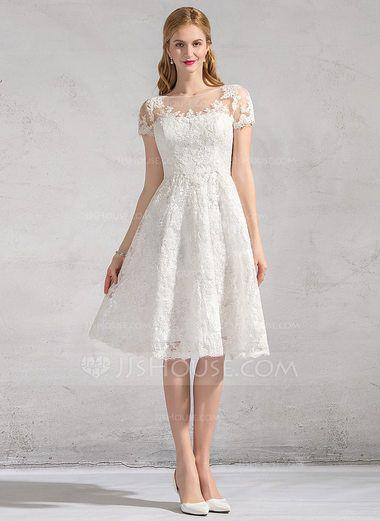 A-Line/Princess Scoop Neck Knee-Length Lace Wedding Dress (002083687) - JJsHouse