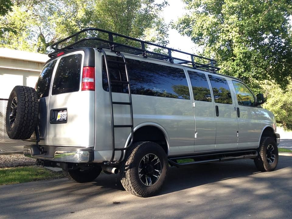 Chevy Gmc Van With Aluminess Tire Rack Roof Rack And