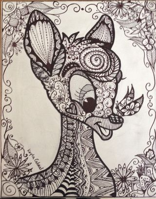 Zentangle Doodle Bambi Abstract Drawing By Erzanightwalker Art