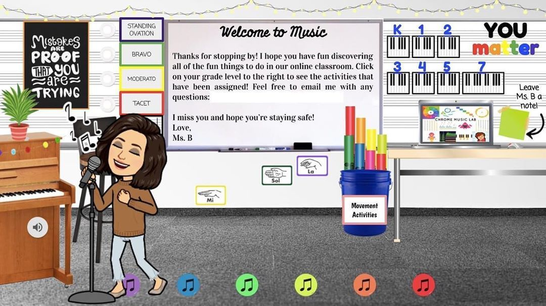 Looking For Ideas Of What To Include In Your Virtual Bitmoji Classroom These Teachers Digital Learning Classroom Interactive Classroom Music Classroom Posters