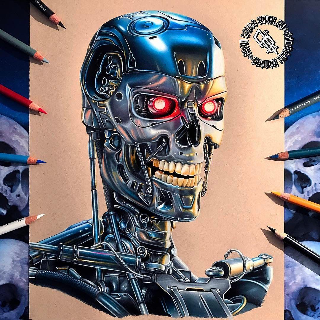 Terminator T800 Drawing By Adam Bettley Robots Pinterest