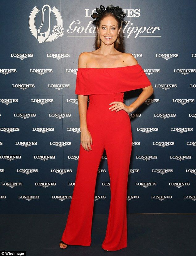 289cff2dfc34 Bold  Former Bachelor star Lana Jeavons-Fellows opted for an eye-catching  red jumpsuit with slightly flared legs