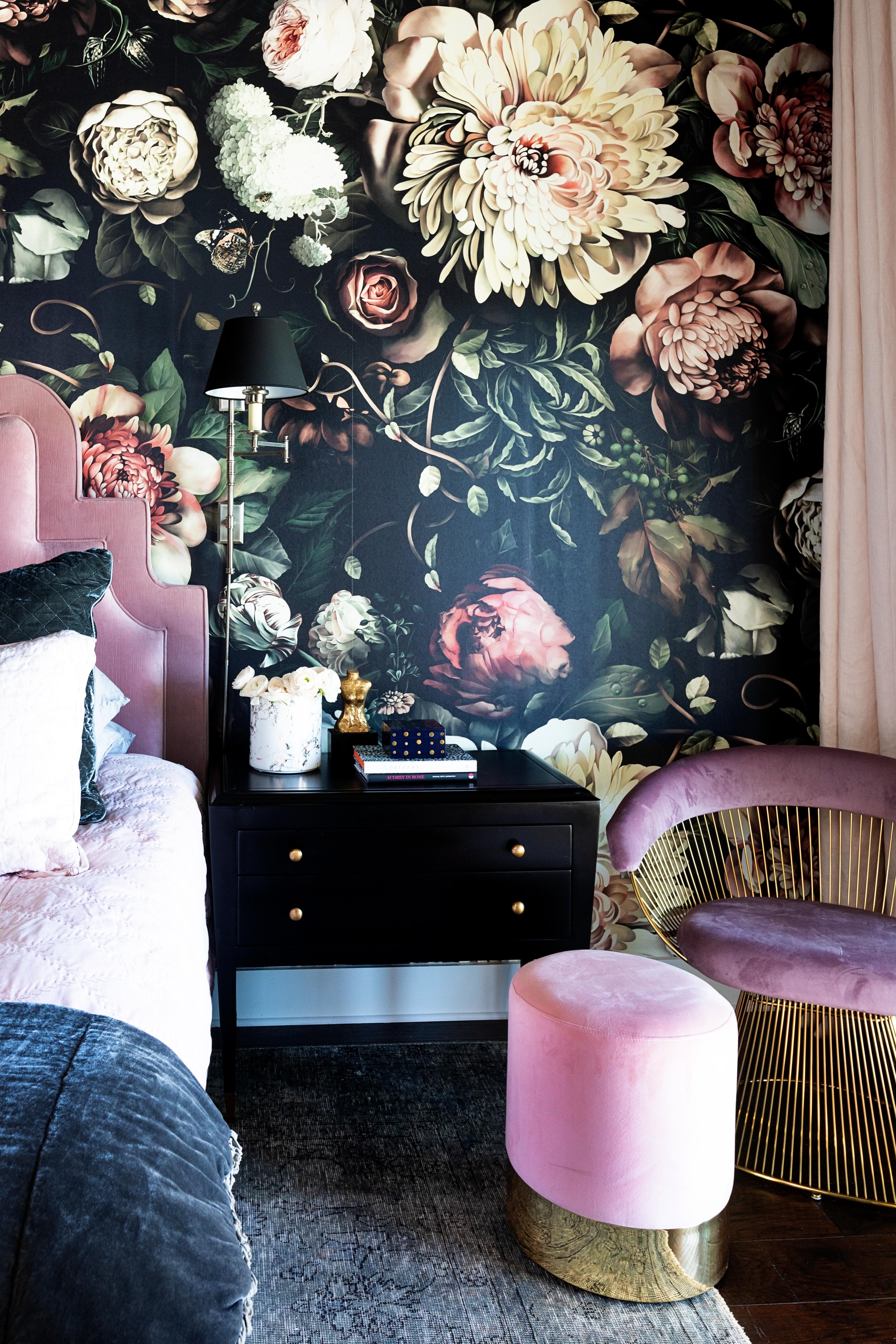 Moody Pink And Navy Bedroom With Bold Floral Wallpaper And