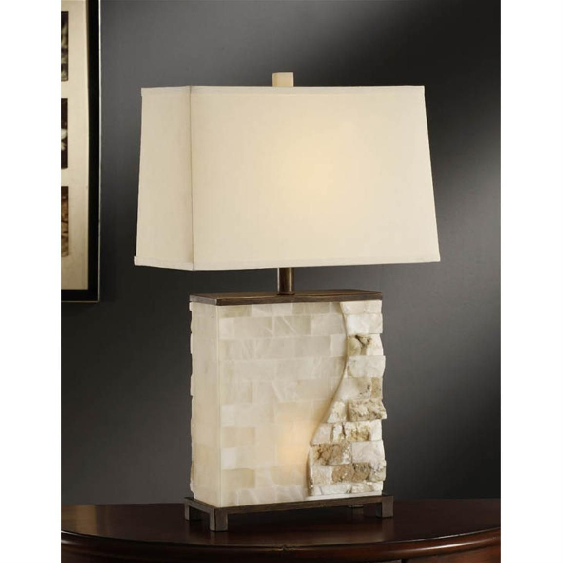 Crestview collection vista stacked stone table lamp lamps stacked stone table lamp stacked stone rectangular table lamp with nightlight translucent stone finish rectangle shade in natural linen fabric measures geotapseo Choice Image