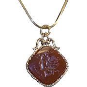 Victorian Greek Goddess Carnelian Hand-Carved Intaglio Pendant in 14K Yellow Gold