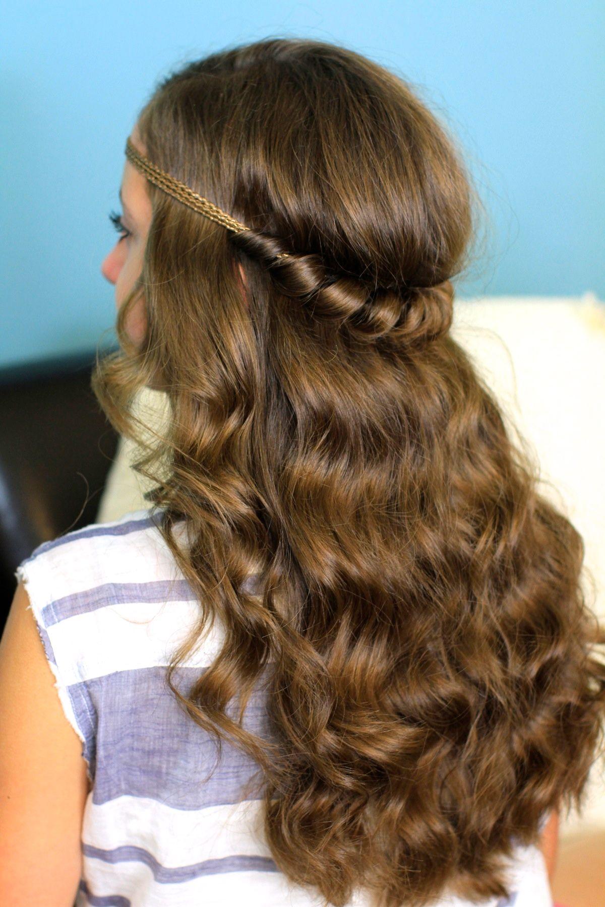 headband twist   half-up half down hairstyles   hair style