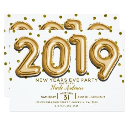 2019 New Years Eve Party Gold Confetti Balloons Invitation